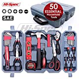 Hi-Spec 50 pc Essential Homeowner's Tool Kit of Most Useful Hand Tools for Decorating, DIY, Furniture Repairs, Household & Handheld Electronics Maintenance Tasks Home Tool Set – in Tool Storage Case