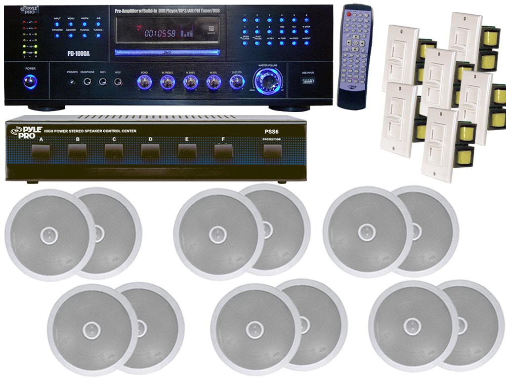 Pyle Super Audio Package for Home/Office/Schools/Public -- PD1000A 1000W AM-FM Receiver With Built-in DVD/MP3/USB + PSS6 6 Channel High Power Stereo Speaker Selector + (6x) PDIC60 250W 6.5'' Two-Way In-Ceiling Speaker System + (6x) PVC2 Wall Mount Vertical by Pyle