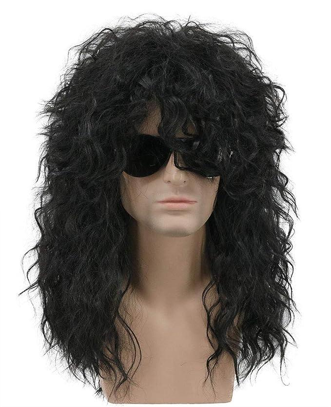 Karlery mens rizado largo 80s heavy metal rocker peluca 80s tema temático peluca: Amazon.es: Belleza
