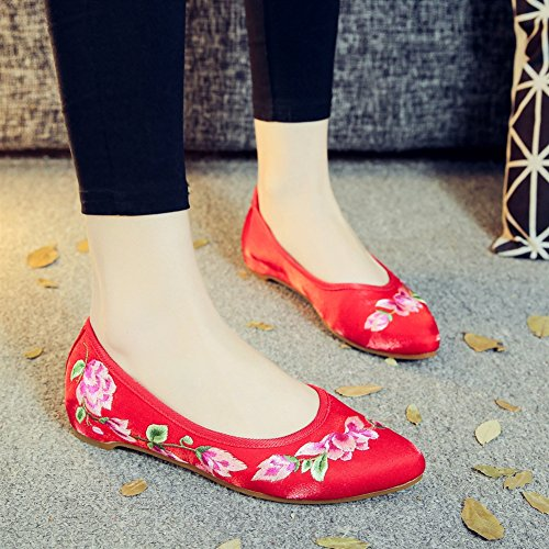 SK Studio Women's Chinese Embroidery Flat Mary Jane Shoes Women Flats Handmade Floral Loafers Low Heel Red Flower Vine gPwxc1V