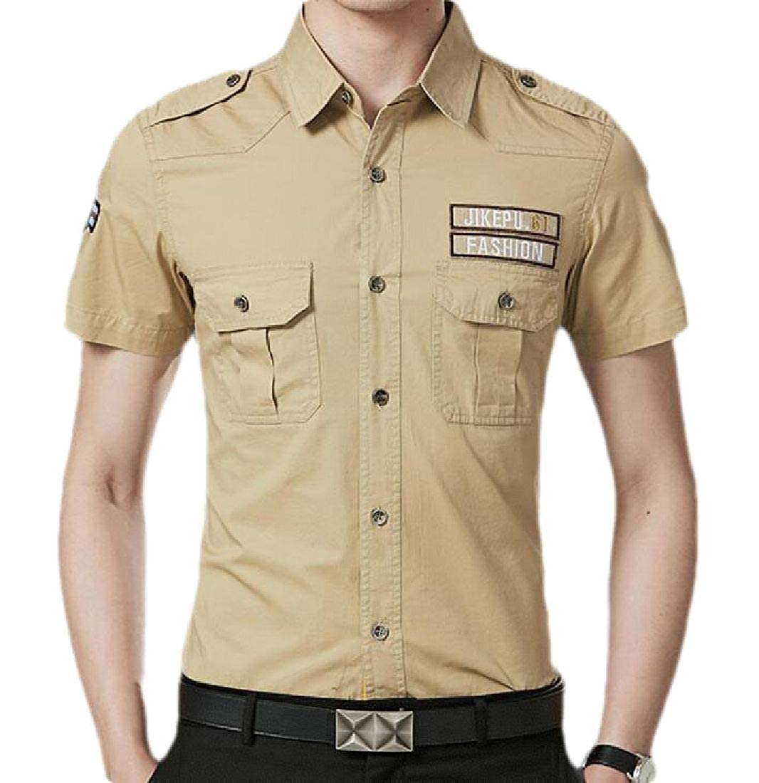Abeaicoc Mens Casual Pockets Military Short Sleeve Button Front Shirts with Epaulets
