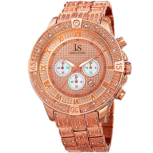 (Joshua & Sons Chronograph Mother-of-Pearl Crystal Pave Dial with Polished and Beaded Rose-Tone Bezel on Rose-Tone Beaded Stainless Steel Bracelet Watch JX121RG)