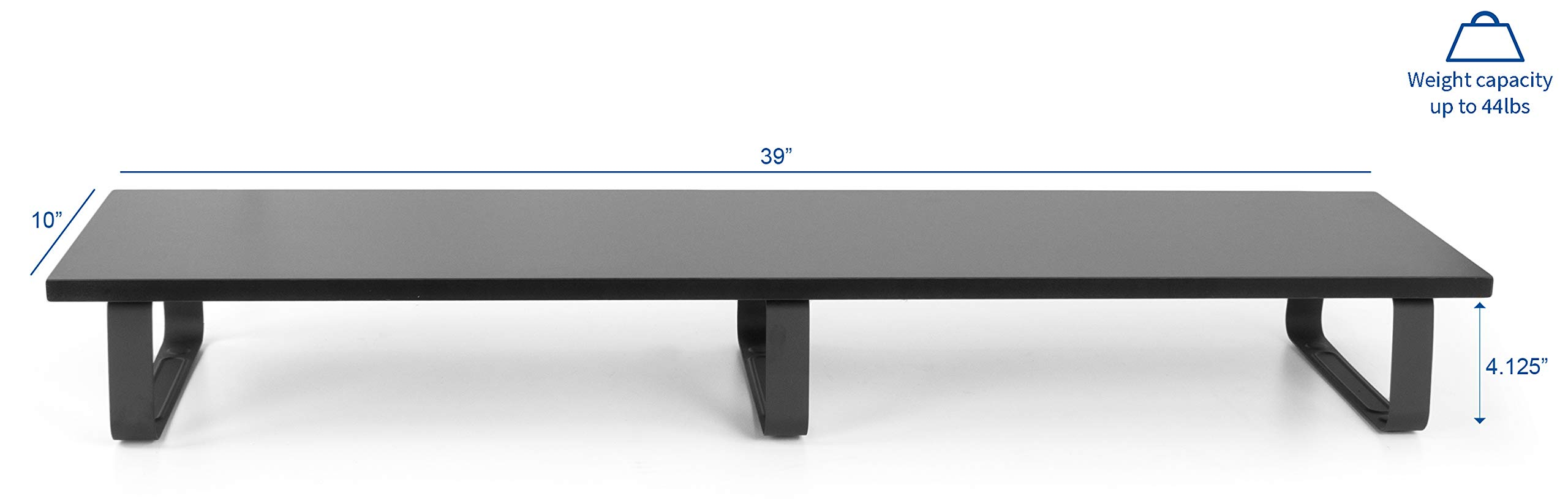 VIVO Black Wood 39'' Wide Extra Long Desktop Stand Ergonomic TV, Dual Monitor Riser and Desk Tabletop Organizer (STAND-V000DL) by VIVO (Image #2)