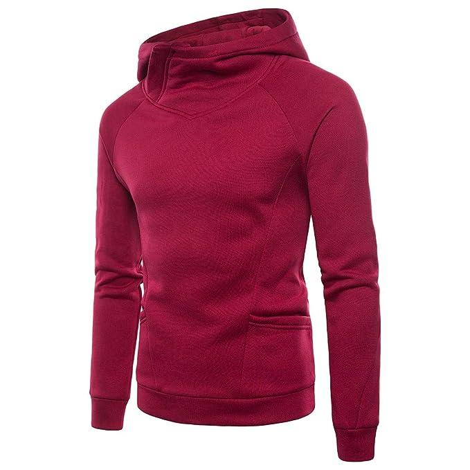 dedb48f66e7ad7 MAYOGO Hoodie Herren Slim fit Hoher Kragen Revers Einfarbig Sweatshirts mit  Kapuze