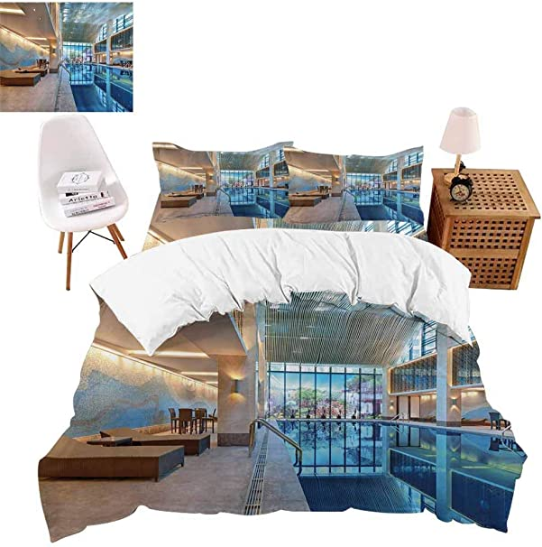 4 Pieces Bedding Sets Calming Relaxing Pool Seats Duvet Cover Set Include 1 Flat Sheet 1 Duvet Cover And 2 Pillow Cases Twin Size No Comforter Amazon Co Uk Kitchen Home