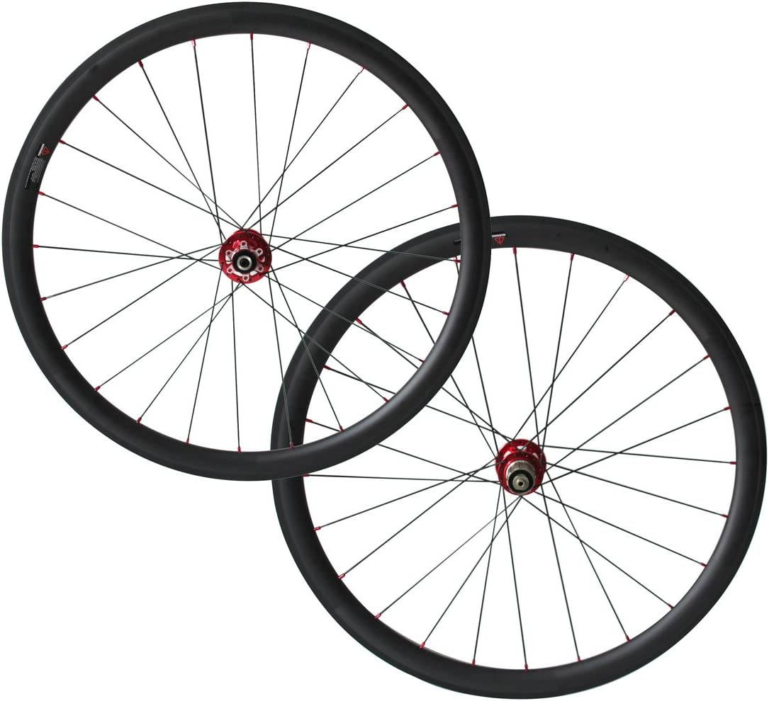 Disc brake front Thru axle 15mm 38mm tubular carbon cyclocross bike wheelset