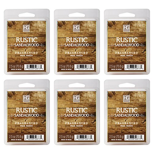 Hosley Rustic Sandalwood Wax Cubes/Melts/Tarts, Set of 6, 2.