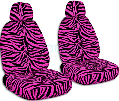 (Animal Print Car Seat Covers w 2 Separate Headrest Covers: Pink Zebra - Semi-Custom Fit - Front - Will Make Fit Any Car/Truck/Van/SUV (30 Prints) )