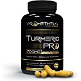 Prometheus Wellness Certified Organic Turmeric PRO 120 Count 700mg Veggie Capsules with Black Pepper for Best Absorption, Pure Vegan Curcumin Joint Pain Relief Anti-Inflammatory Antioxidant Anti-Aging