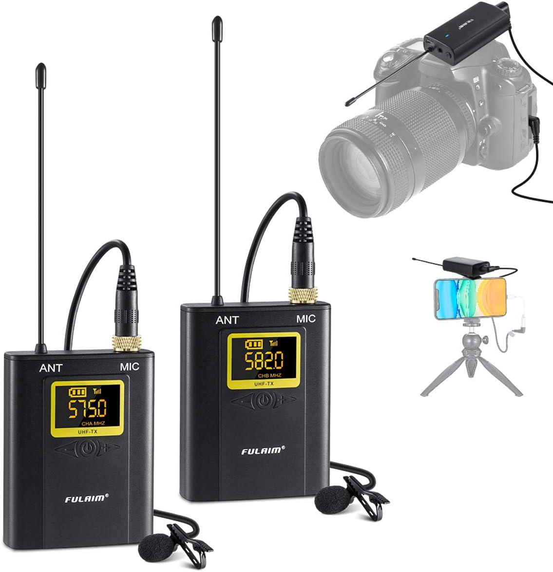 FULAIM WM300 Microfono Lavalier Wireless per iPhone Fotocamera DSLR Telefoni Cellulari Android, Microfoni Esterni UHF a 20 Canali per la Registrazione di Interviste Video Fotografiche - 2TX