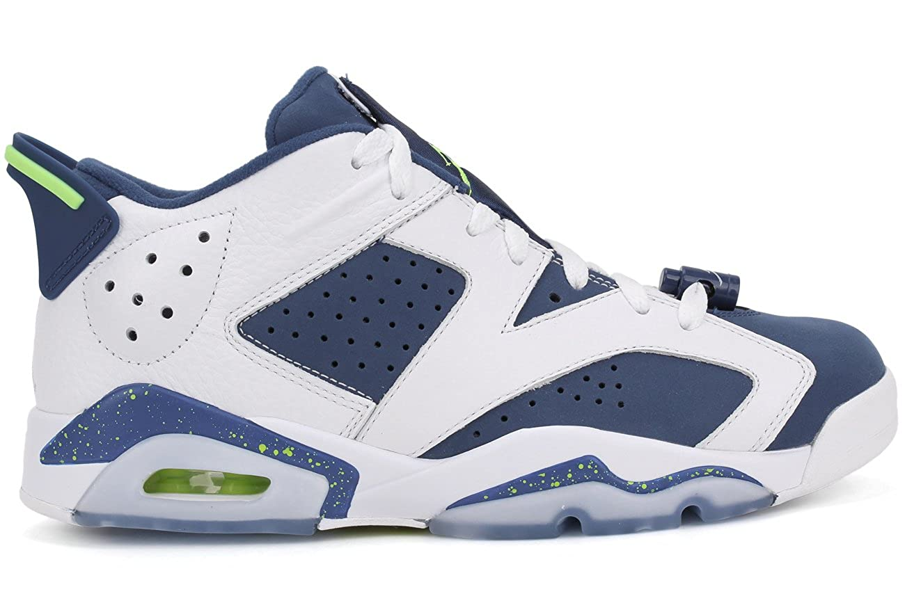 best loved bdfe6 3bdb8 NIKE Mens Air Jordan 6 Retro Low Seahawks White/Ghost Green-Isignia Blue  Leather Size 11