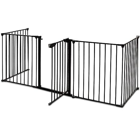 COSTWAY Kaminschutzgitter Metall, Absperrgitter 300cm mit 5 Elementen inkl. Tür, Konfigurationsgitter faltbar, Schutzgitter K
