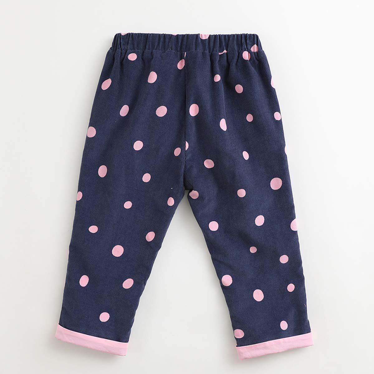 marc janie Little Girls Autumn Pink Polka Dots Corduroy Pants