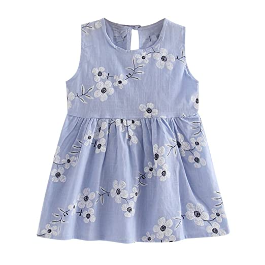 8f6d08f90 Amazon.com: Girls' 2T-7 Cotton Floral Dress Summer Backless Sleeveless  Casual Princess Sundress: Clothing