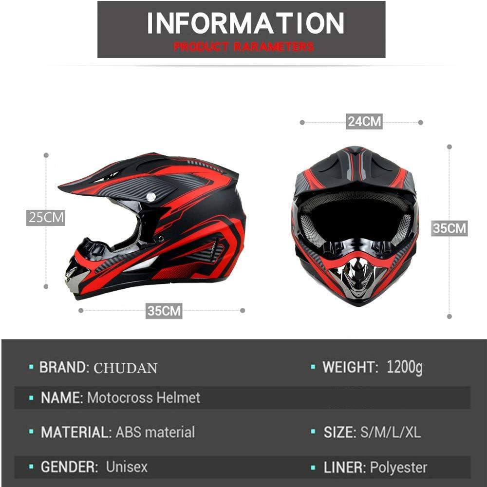 CHUDAN Motocross-Helm f/ür M/änner Damen DOT Zertifiziert Erwachsene Off-Road Motorcycle Crosshelm Set Rot wei/ß Downhill Enduro-Helm ATV MTB BMX-Helm Quad Dirt Bike Mit Brille Handschuhe Maske