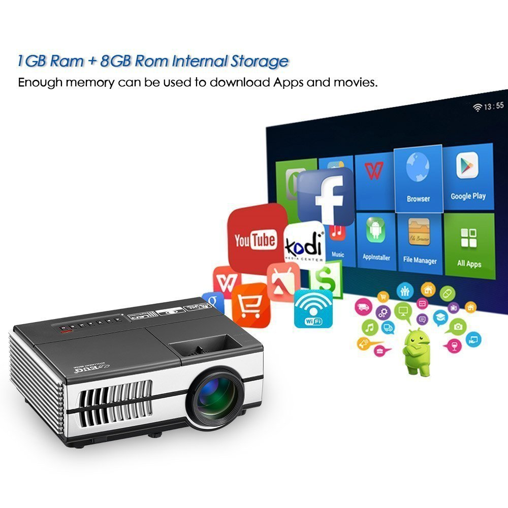 Portable Pico Mini LED Projector - Wireless WiFi Home Theater Cinema 1080P Video Games Outdoor Party Small Beamer Proyector Including USB HDMI VGA AV, 3.5mm Audio Jack by EUG (Image #3)