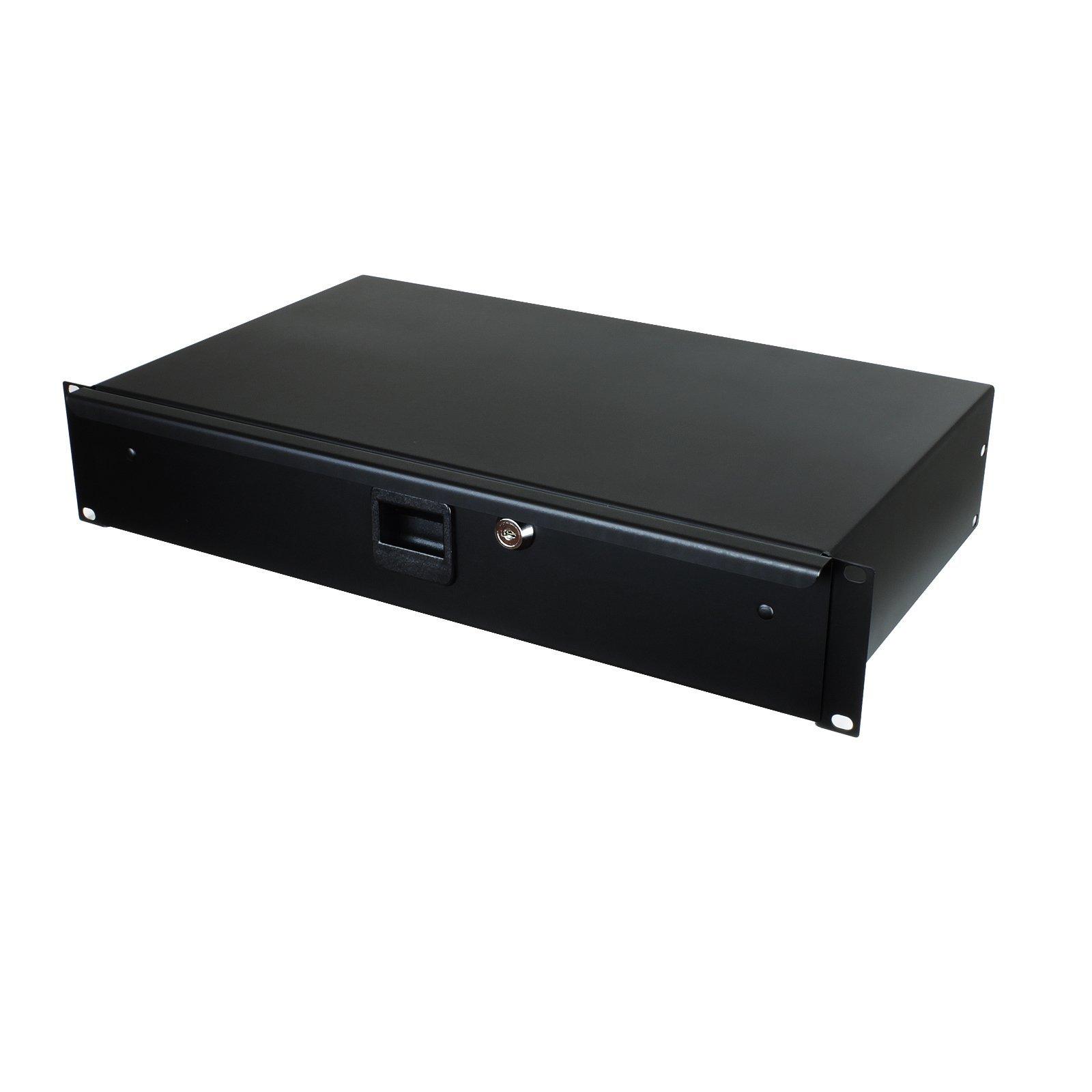 Penn Elcom R1292K-10 Shallow Drawer for 2 Rack Spaces, Storage for Equipment Audio/AV, IT/DJ, Slam Latch with Keyed Lock