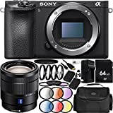 Sony Alpha a6500 Mirrorless Digital Camera with Vario-Tessar T E 16-70mm f/4 ZA OSS Lens 23PC Accessory Bundle - Includes 64GB Memory Card + 2 Replacement FW-50 Batteries + MORE