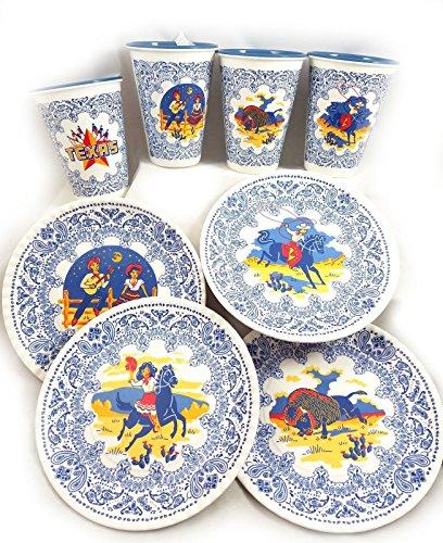 Texas Western Cowboy Retro Melamine Snack Plates and Cups New So Cute -