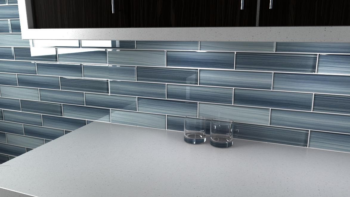 Deep Ocean Blue Gentle Grey Glass Tile Perfect for Kitchen Backsplash or Bathroom 3x6