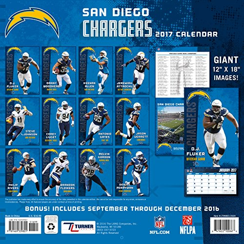 San Diego Chargers Calendar: Turner Licensing Sport 2017 San Diego Chargers Team Wall