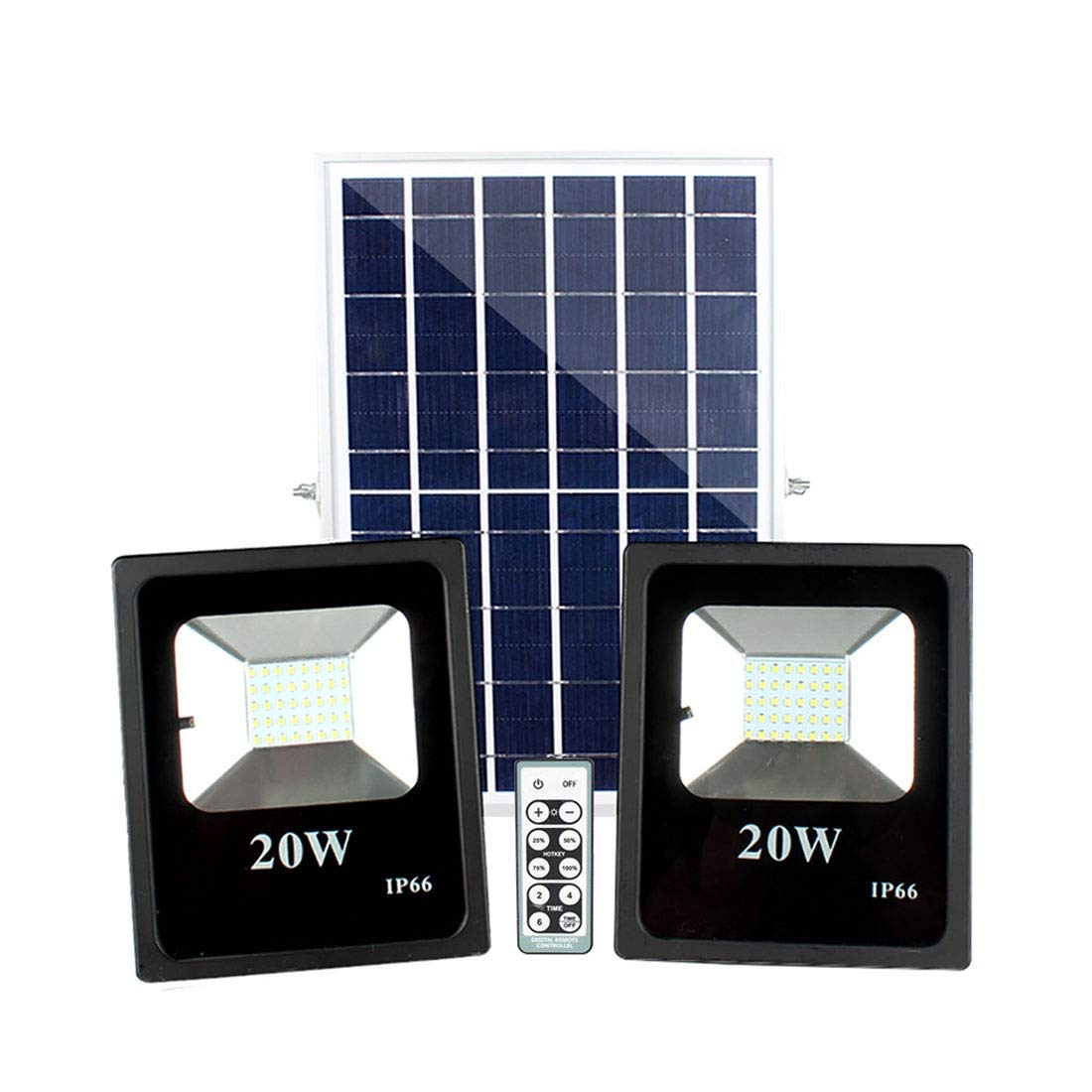 ZHIXIANG 20W 5000LM Solar Lamp Intelligent Light Control with Remote Control Switch 40pcs 2835 Lamp Beads Waterproof Solar LED Floodlight (20W) by ZHIXIANG