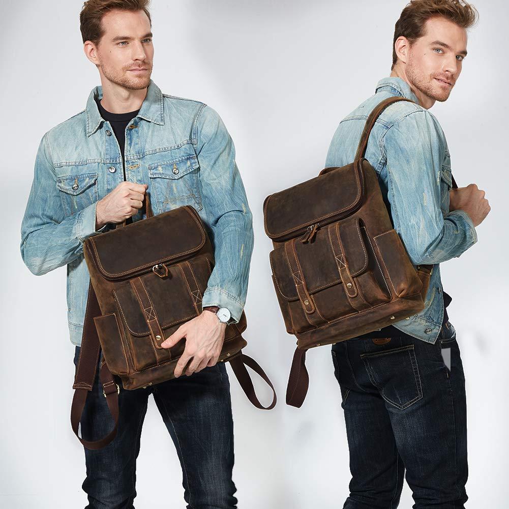 BOSTANTEN Leather Backpack 15.6 inch Laptop Backpack Vintage Travel Office Bag Large Capacity School Shoulder Bag by BOSTANTEN (Image #1)