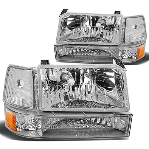 96 Bronco Assembly Grille Ford (DNA Motoring HL-OH-F15092-6P-CH-AM Headlight Assembly, Driver & Passenger Side)