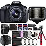 Canon EOS 1300D 18MP DSLR Camera + 18-55mm + 58mm Telephoto Lens + Filter Kit + Macro kit + Two 32GB Memory Card + Holder + Reader + Led Video Light + Case + Flexible Tripod + 3pc Cleaning Kit For Sale