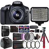 Canon EOS 1300D 18MP DSLR Camera + 18-55mm + 58mm Telephoto Lens + Filter Kit + Macro kit + Two 32GB Memory Card + Holder + Reader + Led Video Light + Case + Flexible Tripod + 3pc Cleaning Kit For Sale