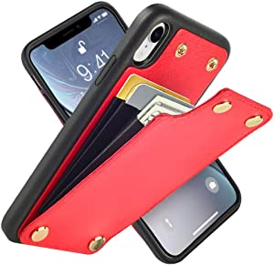 """LAMEEKU Wallet Case for iPhone XR, Leather Credit Card Holder Case with Card Slot Money Pocket, Shockproof Protective Bumper Phone Cover Compatible with iPhone XR 6.1"""" (2018) - Red"""