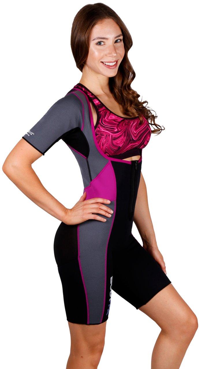 Body Spa Light Body Sauna Suit Neoprene Full Body Shaper Gym Sport Aerobic (Med, Purple w/Grey) 14262