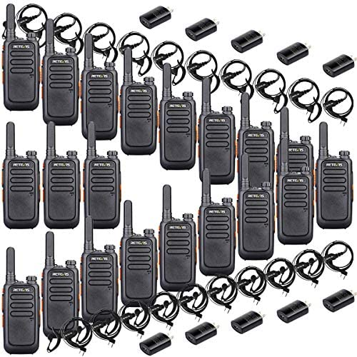 Retevis RT69 Mini Walkie Talkies Rechargeable 20 Pack VOX Hands Free Flashlight Long Range 2 Way Radio with Earpiece