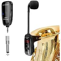 XIAOKOA Wireless Microphone,Micrófono Inalámbrico UHF,Micrófono para Instrumentos Inalámbricos,Micrófono para Saxofón…