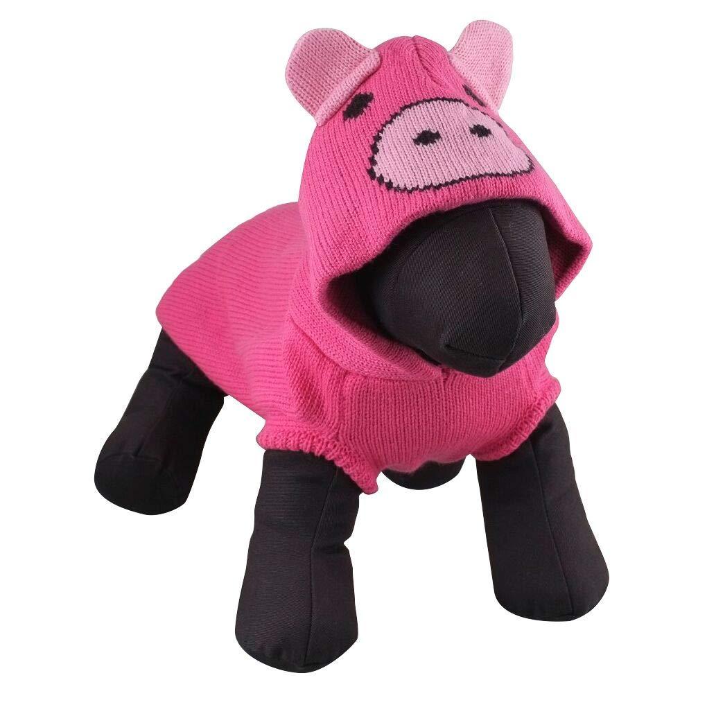 The Worthy Dog 5225 Wilbur Pig Hoodie, Pink, M by The Worthy Dog