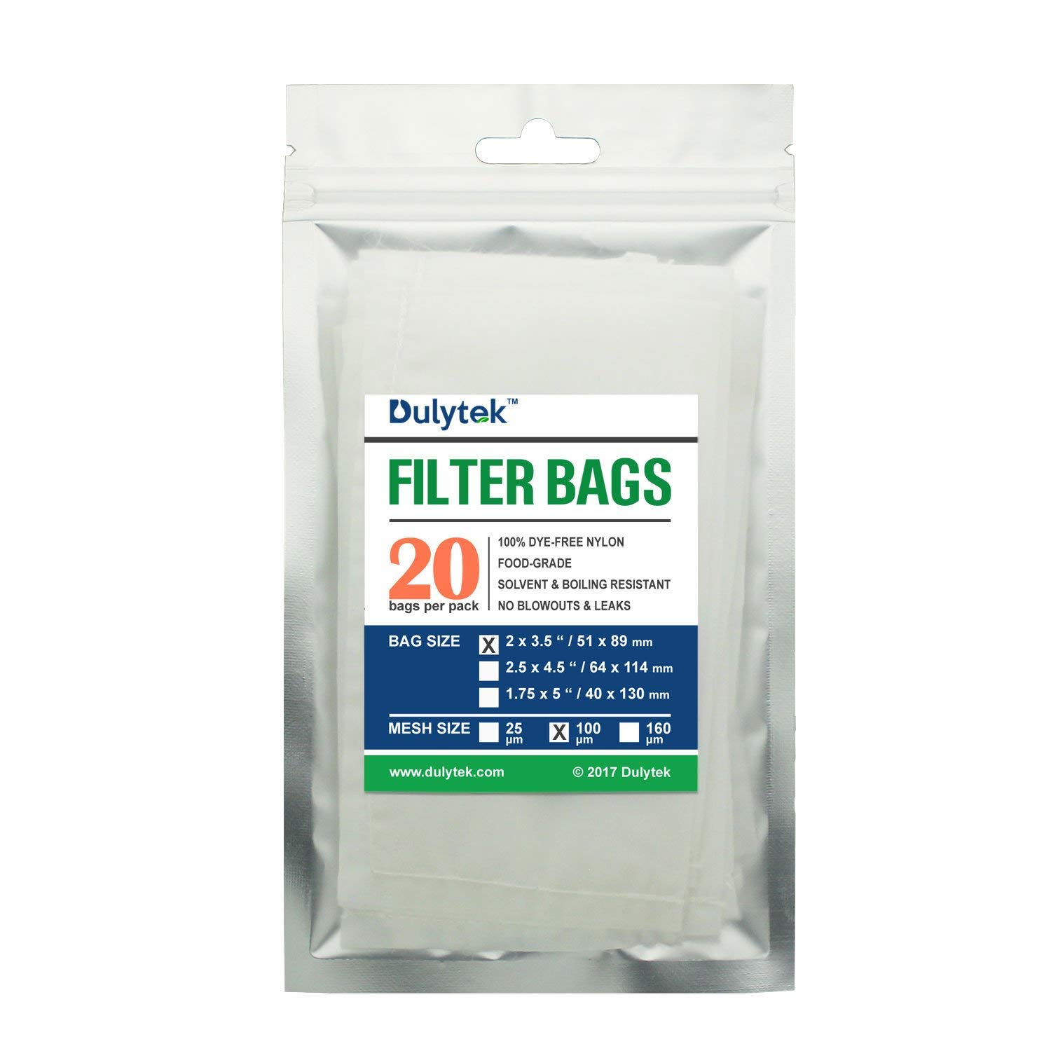 Dulytek Rosin Filter Bags, 100 Micron, 2 x 3.5 inches, 20 Pcs, Nylon Screen