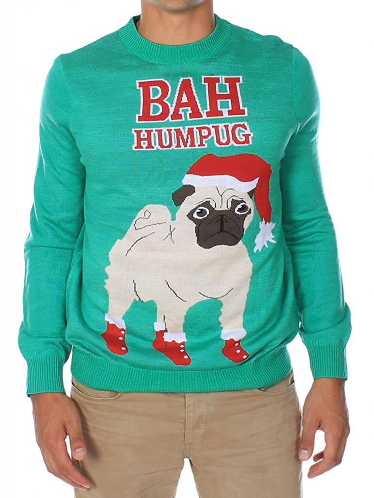 Mens Bah Hum Pug Christmas Sweater