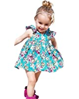 HotMoon Floral O-Neck Sleeveless Cotton 2PCS Toddler Kids Baby Girls T-shirt Tops