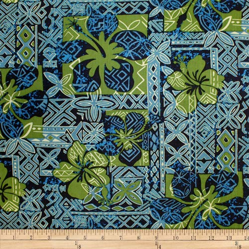 Trans-Pacific Textiles Hawaiian Tapa Hibiscus Jade, Fabric by the ()