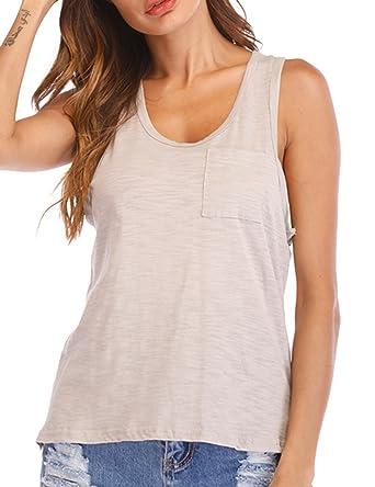 bc1a594f55a Amazon.com: Women's Casual Racerback Tank Tops Juniors Girls Pocket Tees  Camis: Clothing