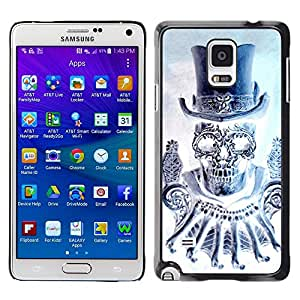 LECELL--Funda protectora / Cubierta / Piel For Samsung Galaxy Note 4 SM-N910 -- Top Hat Bling Diamond Skull Death --