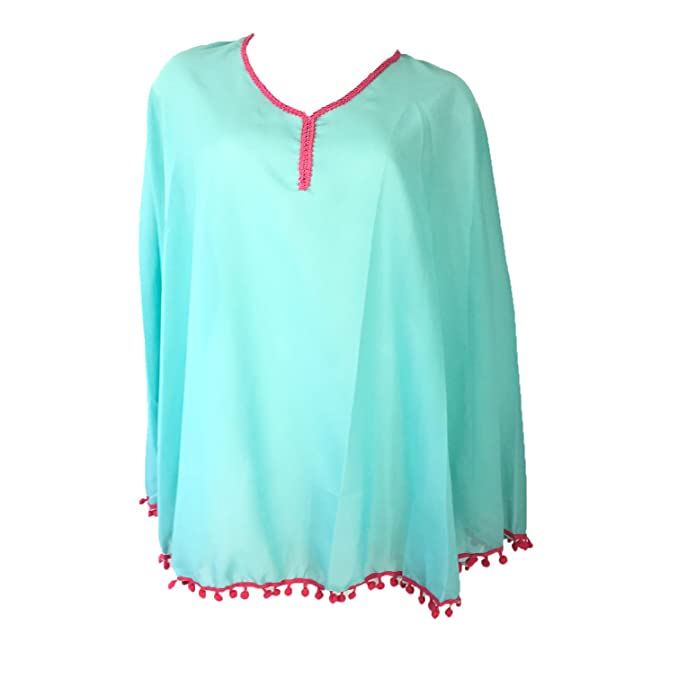d14d5b3d16a5e Image Unavailable. Image not available for. Color  Blue Island Women s Pom  Pom Poncho Tunic Swim Cover ...