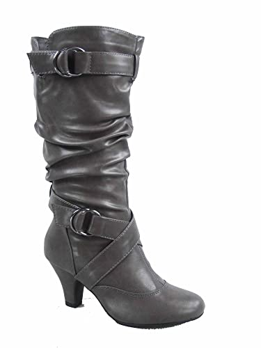 3358f09ba80 Forever Link Maggie-39 Women's Fashion Low Heel Zipper Slouchy Mid-Calf  Boots Shoes