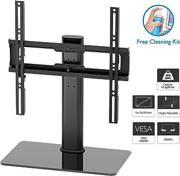 1home Soporte para televisión de 26 – 55 Pulgadas Giratorio Soporte de Mesa para TV LCD LED Plasma, Plano y Curvo de hasta 40 kg, máx. VESA 400 x 400 mm: Amazon.es: Electrónica