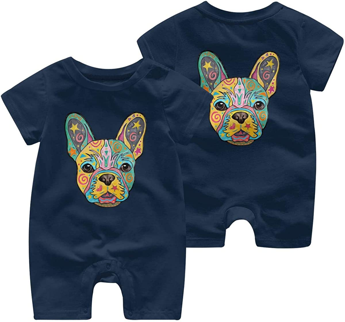 Mri-le1 Newborn Baby Short Sleeved Coveralls French Bulldog 1 Kid Pajamas
