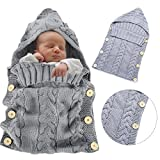 Newborn Swaddle Wrap Blanket, Bonice Winter Buttoned Swaddle Bag Wool Knitted Sleeping Bag Crochet Hooded Sleep Sack Hoodie Buttoned Stroller Swaddling Wrap for 6-12 Months Baby Infant - Light Grey