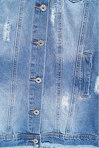 Damen Cutout Jeans Mantel Lange Jeansjacke Destroyed Look