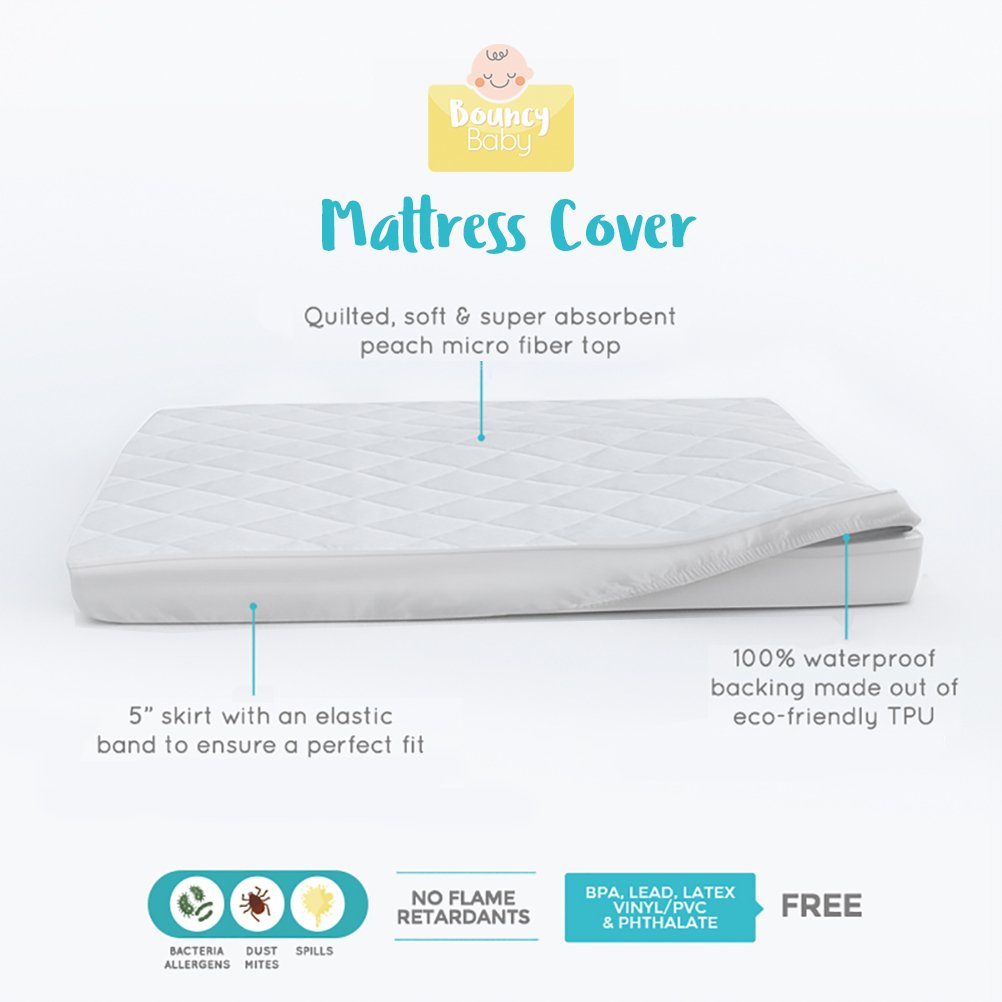 Pack N Play Mattress Protector | Waterproof Mattress Protector for Pack and Play Baby Crib Mattress | Fits Portable/Playard Mattresses | Hypoallergenic & Soft Pack N Play Mattress Pad | By Bouncy Baby