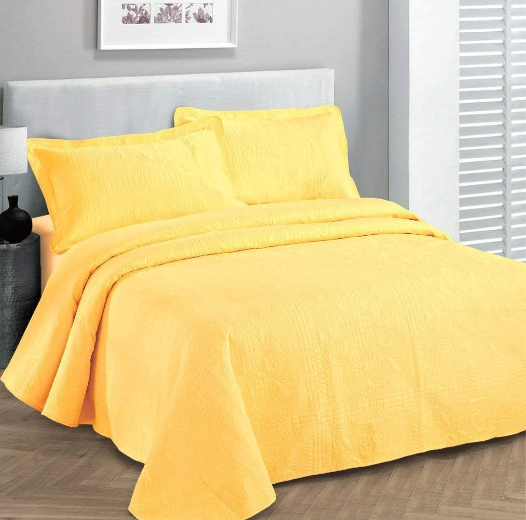 """Fancy Collection 3pc Luxury Bedspread Coverlet Embossed Bed Cover Solid Yellow New Over Size 118""""x106"""" King/california King"""