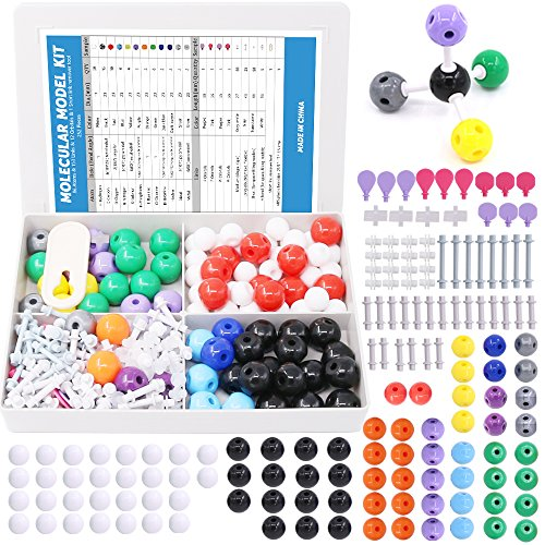 Swpeet 252 Pcs Molecular Model Kit for Inorganic & Organic Molecular Model Teacher and Student Kit  - 86 Atoms & 153 Links & 12 Orbitals & 1 Short Link Remover Tool (Best Molecular Model Kit)